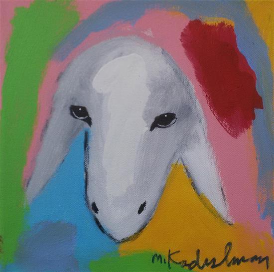 Menashe Kadishman 1932-2015 (Israeli) Sheep head acrylic on canvas