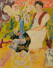 **Jean Jules Louis Cavailles 1901-1977 (French) Woman in interior with flowers, 1944 oil and gouache on paper