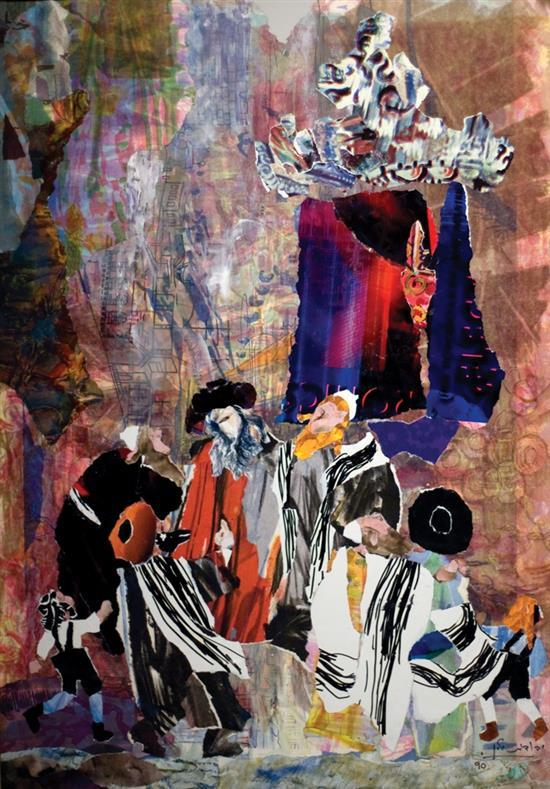 Yehudit Yellin 1923-2005 (Israeli) Hassidim, 1990 paper collage