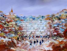 Ben Avram b.1937 (Israeli) Wailing wall oil on canvas