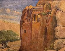 Aaron Shaul Schur 1864-1945 (Israeli) Judean desert, 1925 oil on canvas mounted on cardboard