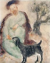 **Reuven Rubin 1893-1974 (Israeli) Jewish shepherd and sheep watercolor and pencil on paper