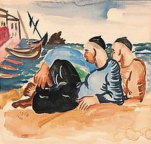 Israel Paldi 1892-1979 (Israeli) Two fishermen, 1929 watercolor on paper
