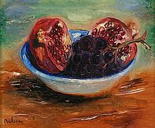 **Reuven Rubin 1893-1974 (Israeli) Pomegranate and grapes, 1944 oil on canvas