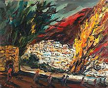 Yitzhak Frenkel Frenel 1899-1981 (Israeli) Landscape oil on canvas