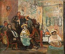 Avraham Naton 1906-1959 (Israeli) Cafe scene, 1942 oil on canvas