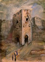 Nachum Gutman 1898-1980 (Israeli) Jaffa Gate, Jerusalem, 1926 watercolor on paper