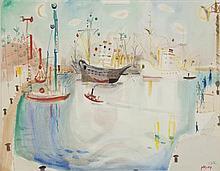 **Nachum Gutman 1898-1980 (Israeli) Haifa watercolor and pencil on paper