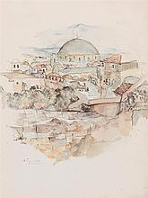 **Anna Ticho 1894-1980 (Israeli) Jerusalem, 1927 watercolor and pencil on paper
