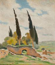 Shmuel Charuvi 1897-1965 (Israeli) Garden of the cross, 1943 oil on canvas