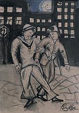 Moshe Matus (Matusovski) 1908-1958 (Israeli) Lot including 3 works; Jewish policeman (Notre), A British officer, Theater scene water...