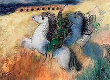 Reuven Rubin 1893-1974 (Israeli) Horses in Caesarea, 1973 oil on canvas