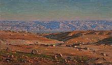 Ludwig Blum 1891-1975 (Israeli) Jerusalem hills, 1947 oil on canvas