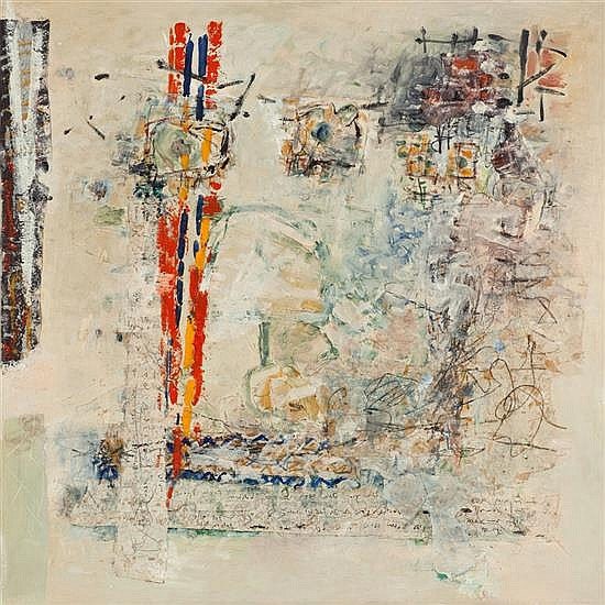 Zahava Lupu b. 1948 (Israeli) Abstract composition oil and mixed media on canvas