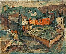 Yaacov Eisenscher 1896-1980 (Israeli) Jerusalem landscape oil on canvas