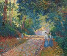 **Lucien Neuquelman 1909-1988 (French) Figures in the park oil on canvas
