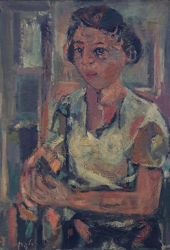 Elchanan Halpern 1914-1995 (Israeli) Young woman, 1957 oil on canvas