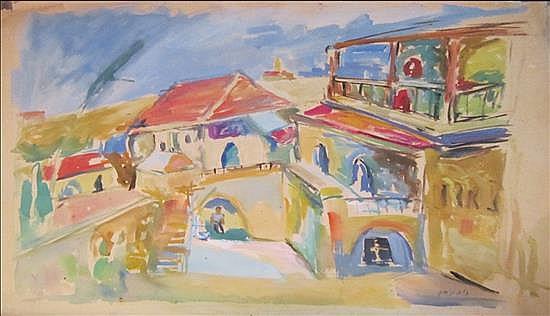 Tzila Neumann 1911-1984 (Israeli) Jaffa watercolor on paper