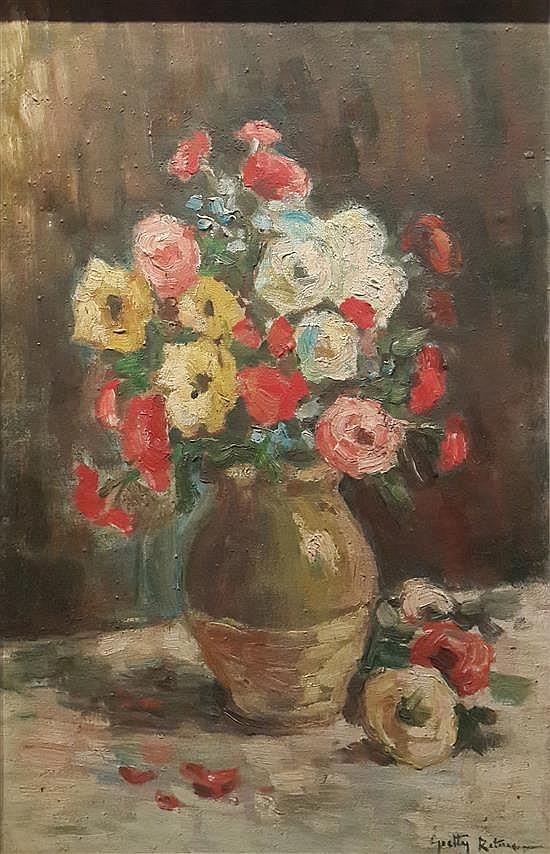 Gretty Rubinstein 1947-2001 (Israeli) Vase of flowers oil on canvas