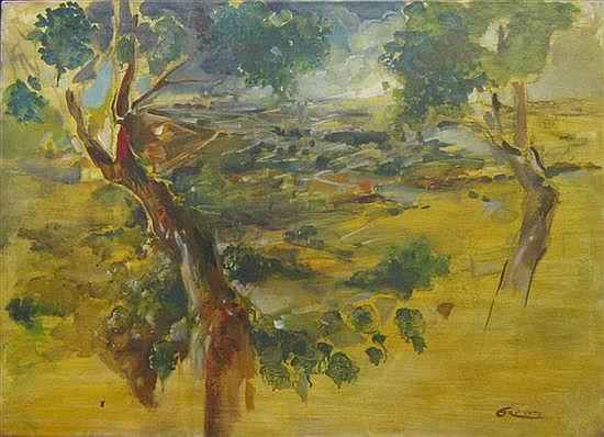 Gretty Rubinstein 1947-2001 (Israeli) Jerusalem landsdcape oil on canvas