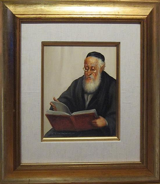 Abraham Straski 1903-1987 (Polish) Rabbi oil on board