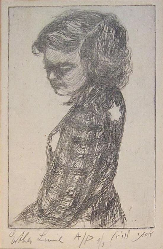 Esther Lurie 1913-1998 (Latvian, Israeli) lot including 2 works; Girl with Shoa star ; Street in the Kovno ghetto etching