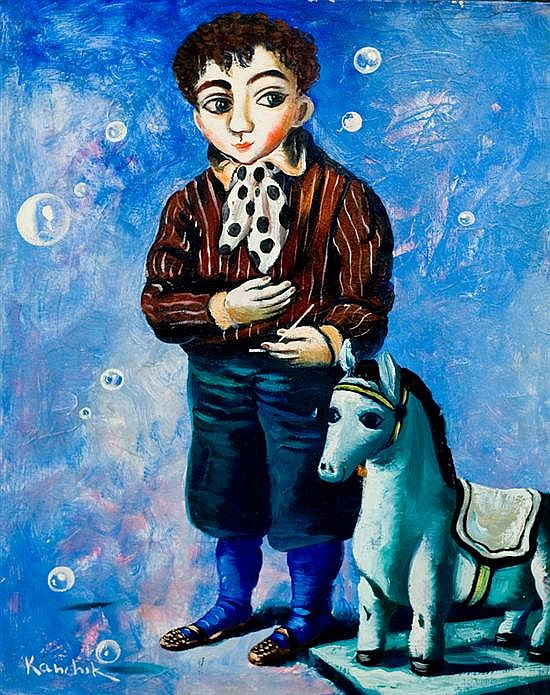 Alex Kanchik b. 1959 (American) Boy and rocking horse oil on canvasboard