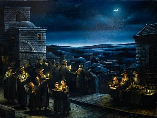 Boris Shapiro b. 1968 (Russian/Israeli) Kiddush Ha'Levanah oil on canvas