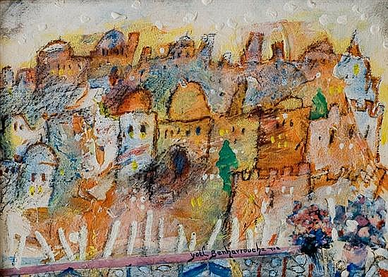 Yoel Benharrouche b. 1961 (Israeli) Jerusalem oil on canvas