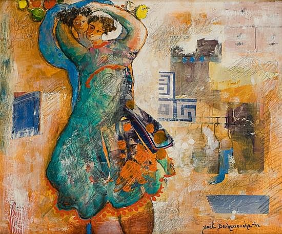 Yoel Benharrouche b. 1961 (Israeli) The marriage mixed media on canvas