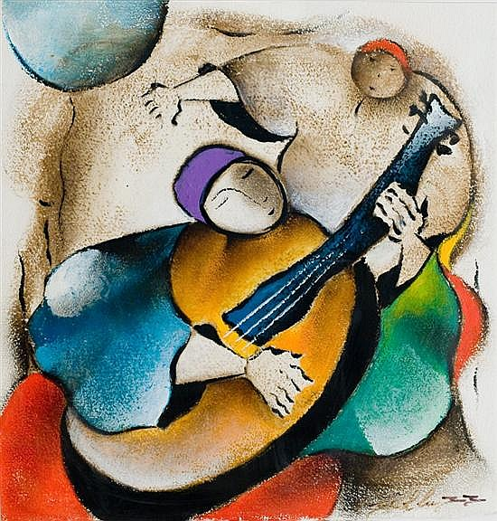 David Schluss b. 1943 (Israeli) Banjo acrylic on paper