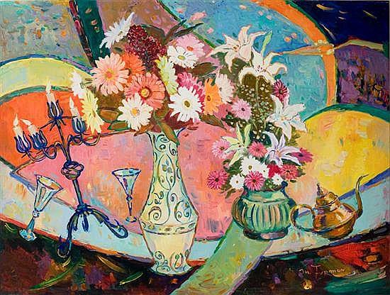 Mark Furman b. 1945 (Polish/ Israeli) Still life with flowers acrylic on canvas