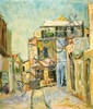 **Zvi Shor 1898-1979 (Israeli) Israeli street scene, 1955 oil on canvas