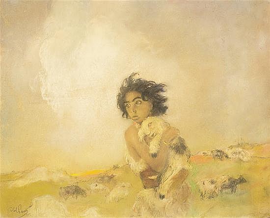 **Abel Pann 1883-1963 (Israeli, Latvian) Abel brought of the firstling of his flock (Genesis IV, 2), 1957 pastel on paper mounted on c.