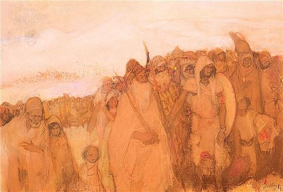 **Abel Pann 1883-1963 (Israeli, Latvian) The Promised Land, c. 1930 pastel crayons on paper