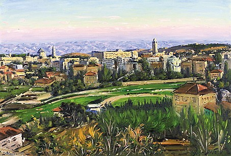 **Ludwig Blum 1891-1975 (Israeli) View of Jerusalem, 1963 oil on canvas