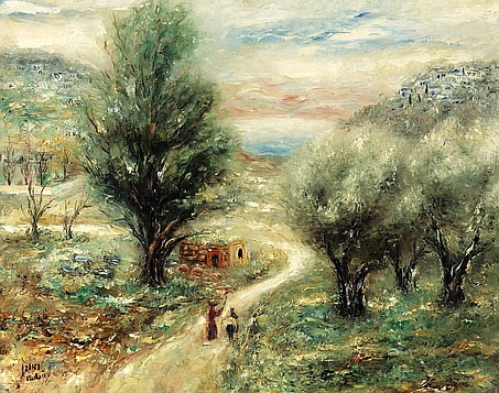 **Reuven Rubin 1893-1974 (Israeli) Springtime in the Galilee, 1950's oil on canvas