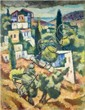 Arieh Allweil 1901-1967 (Israeli) Galilee landscape oil on paper mounted on masonite