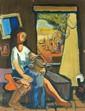 Yohanan Simon 1905-1976 (Israeli) Shabbat on the Kibutz oil on cardboard