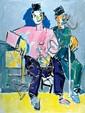 Pinchas Litvinovsky 1894-1984 (Israeli) Two seated men oil on canvas