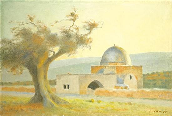 Shmuel Charuvi 1897-1965 (Israeli) Rachel's Tomb oil on canvas