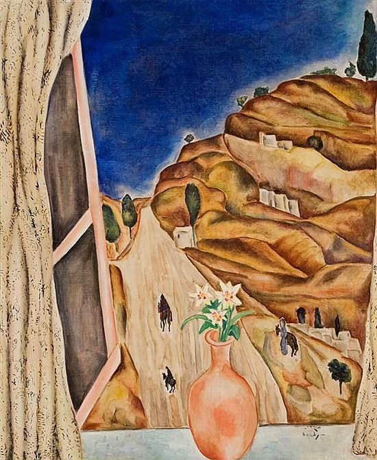 **Moshe Mokady 1902-1975 (Israeli) Landscape through an open window, c. 1925 oil on canvas