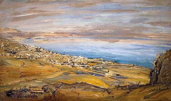 Ludwig Blum 1891-1975 (Israeli) Tiberias from Mount Bereniki, 1932 oil on canvas