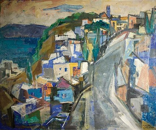 Yaacov Eisenscher 1896-1980 (Israeli) View of Tiberias and the Sea of Galilee, 1940's oil on canvas