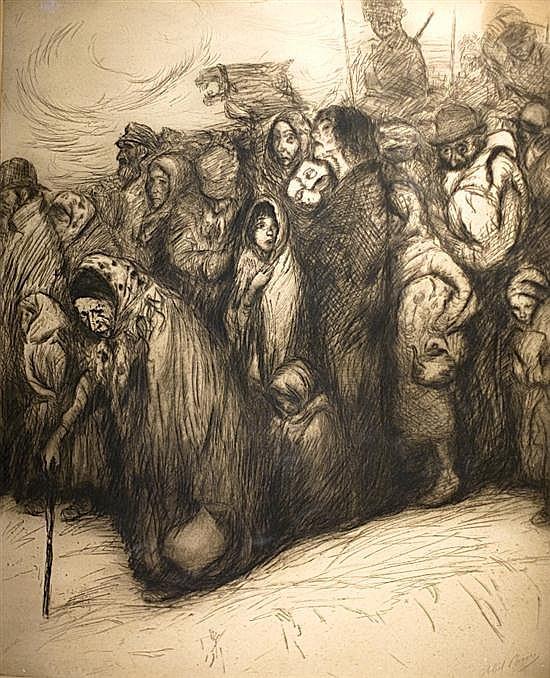 Abel Pann 1883-1963 (Israeli, Latvian) Expultion etching