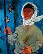 Pinchas Litvinovsky 1894-1984 (Israeli) Butterfly hunt, 1920's oil on canvas