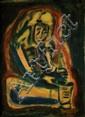 Yitzhak Frenkel Frenel 1899-1981 (Israeli) Beggar oil on canvas