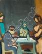 Aharon Giladi 1907-1993 (Israeli) Figures in an interior oil on canvas
