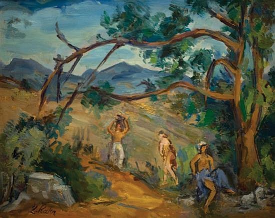 Leo Kahn 1894-1983 (Israeli) Figures in a landscape oil on canvasboard