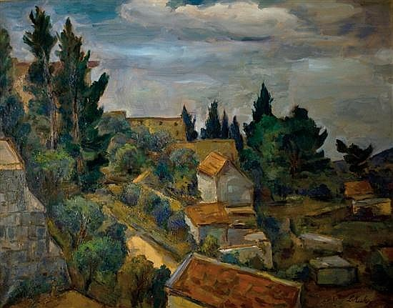 Leo Kahn 1894-1983 (Israeli) Landscape in Galilee oil on canvas